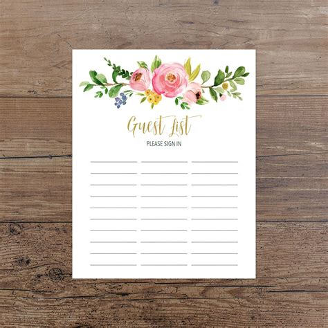 Printable Baby Shower Guest Sign In Sheet by Floral Guest List Printable Guest List Sign In Sheet Pink