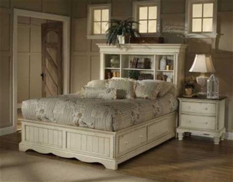 queen wilshire bookcase bed  storage antique white