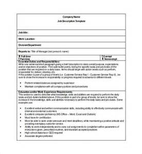 description form template sle description template 9 free documents
