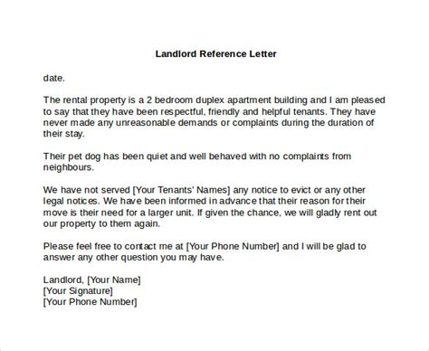 Landlord Reference Letter 6 Download Free Documents In Pdf Word Free Tenant Reference Letter Template