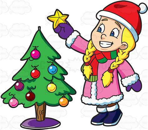 Someone To Decorate My Home For Christmas by A Decorating A Christmas Tree Cartoon Clipart