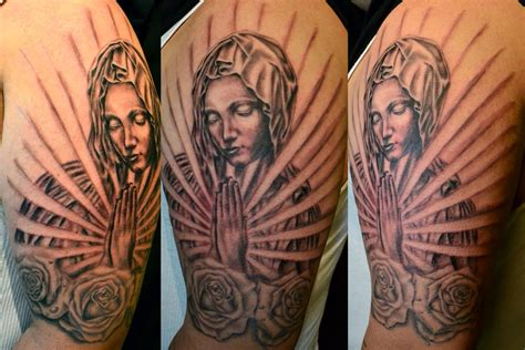 praying mary tattoo designs roses praying religious sleeve by