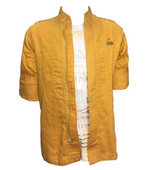 oks gold sleeve jacket with t shirt for boys buy
