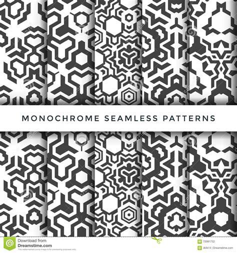 seamless pattern monochrome monochrome abstract seamless pattern set stock vector