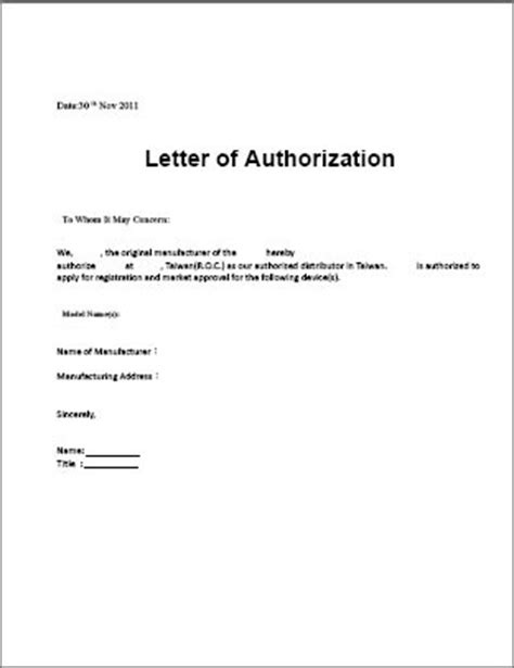 authorization letter format to collect material safasdasdas authorization letter