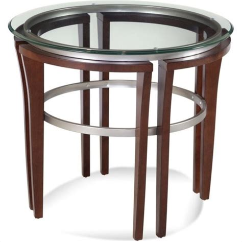 round glass top accent table bassett mirror fusion round glass top end table in