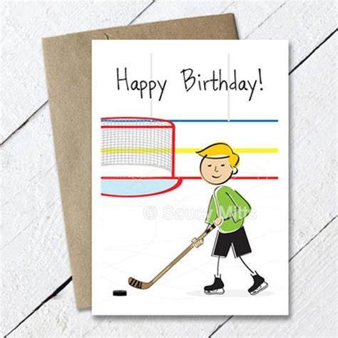printable birthday cards hockey kids hockey birthday card cartoon saucy mitts hockey