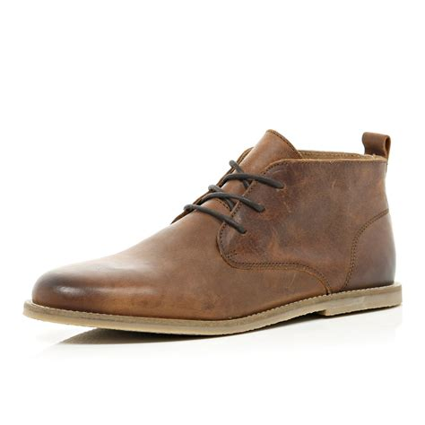 brown chukka boots river island brown leather chukka boots in brown for