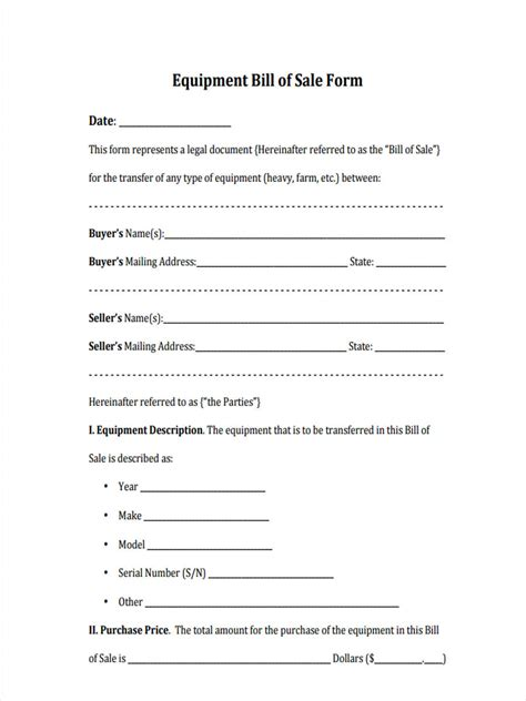 equipment bill of sale equipment bill of sale form 6 free documents in word pdf