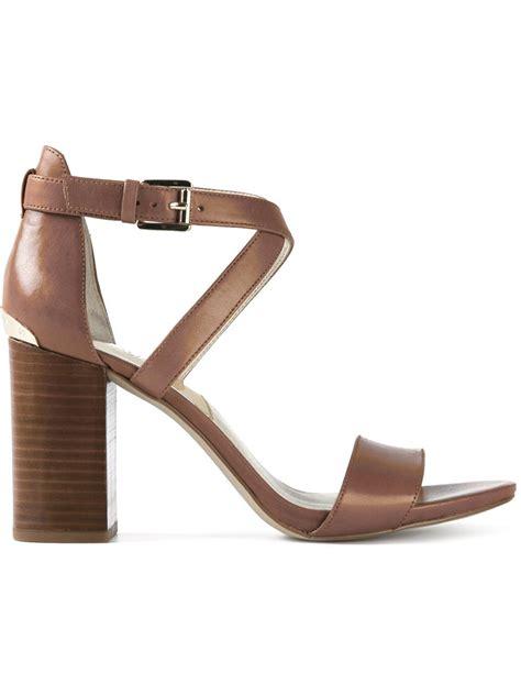 michael kors heel sandals michael michael kors chunky heel sandals in brown lyst