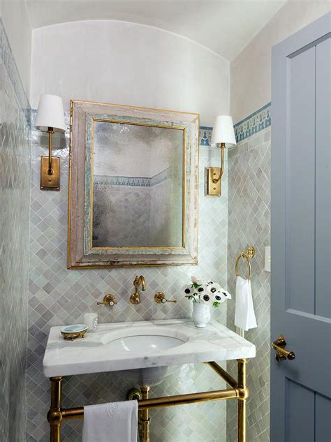 powder room tile white and gray moroccan style bathroom mediterranean