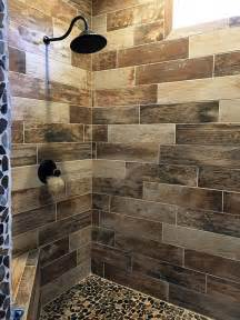 tile shower pinterest rustic ideas bathroom about floor master pebble