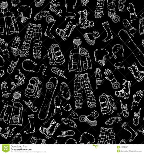 black and white clothing pattern chalk seamless snowboard gear pattern stock vector