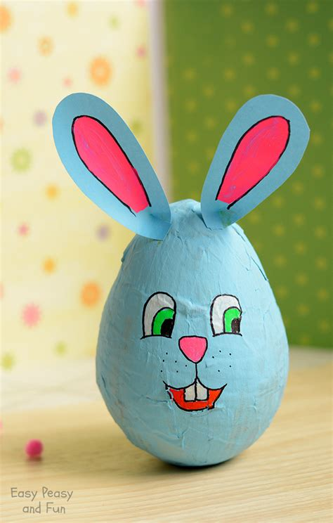 Paper Easter Crafts - wobbling papier mache bunny easter crafts for