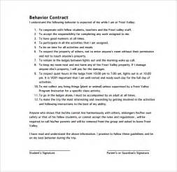 behavioral contract template sle behaviour contract 14 free documents in