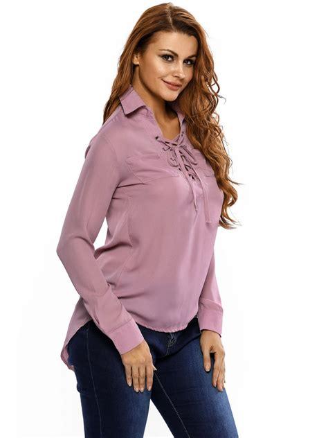 Sleeve Lace Up Chiffon Top chiffon lace up hi low sleeves top e25927 10