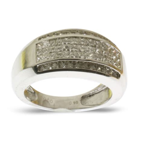 Handmade Gold Rings Uk - 0 95 ct pave 18 kt solid white gold handmade band