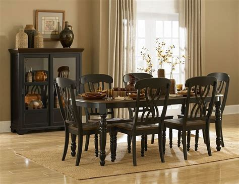 Homelegance Britanica Black Country Style Homelegance 1393bk 78 Ohana Black Table Set With Curio