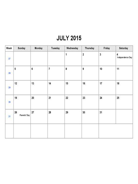 Calendar July 2015 Template