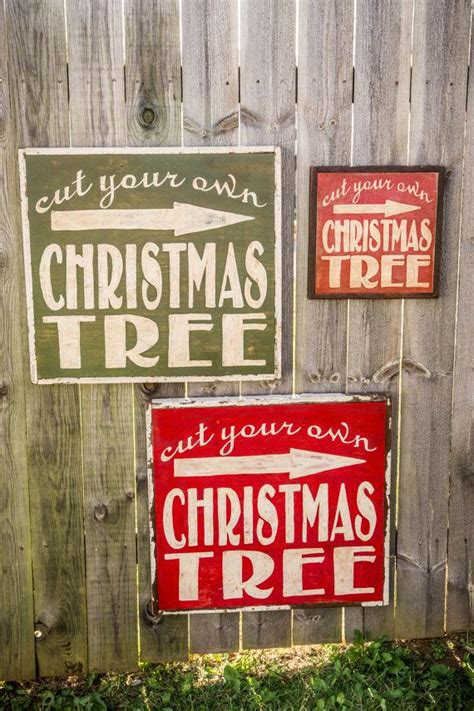 large cut your own christmas tree sign