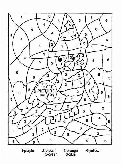 coloring pages with numbers color by number owl coloring page for education