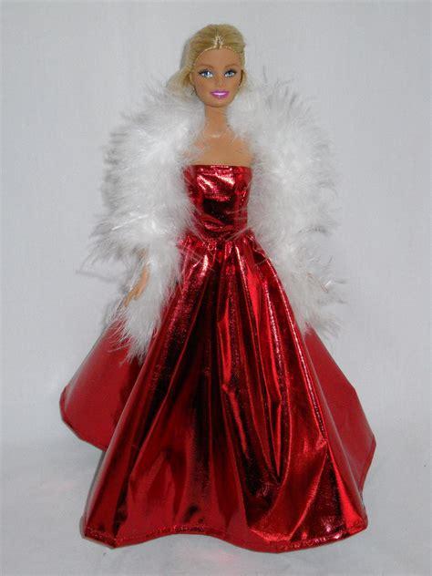 Handmade Doll Dresses - doll dress handmade shiny gown with white boa