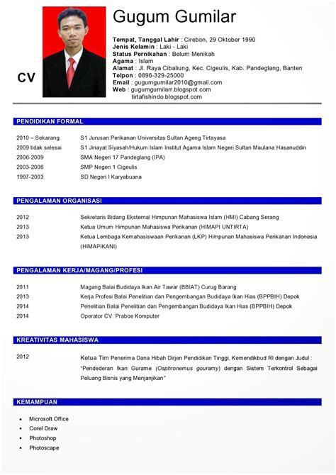 cara membuat resume biasiswa cara membuat riwayat hidup cv curriculum vitae dian