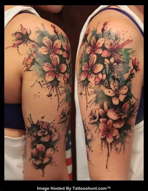 quarter sleeve tattoo with flowers abstract flowers color ink tattoos on half sleeve full