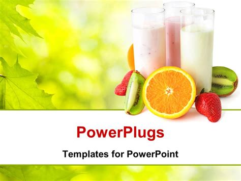Powerpoint Template Healthy Eating Concept With Three Glasses With Yogurts Surrounded By Fresh Healthy Food Powerpoint Template