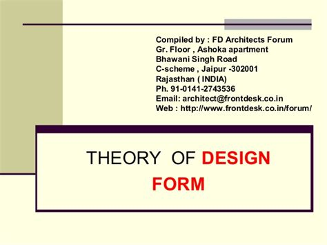 design form one theory of design form
