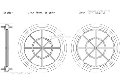 window section cad block round window dwg free cad blocks download
