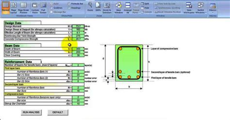 Concrete Column Design Spreadsheet by Reinforced Concrete Design Spreadsheet Concrete Beam