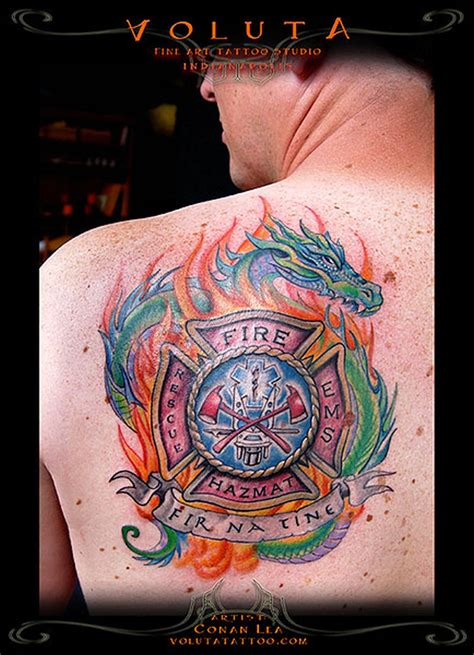 dragon tattoo back firefighter tattoos tattoos book