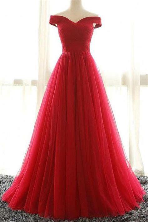Ee  Red Ee   A Line Tulle Off Shoulder Prom  Ee  Dress Ee  Evening  Ee  Dress Ee