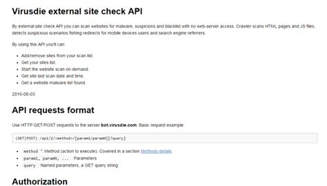 external check external site check api is available virusdie