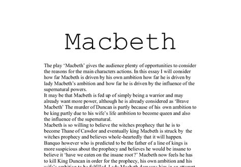 Macbeth Conclusion Essay by Macbeth Essay Thesis 28 Images Macbeth Essays Exles Essay Questions On Macbeth Act 1