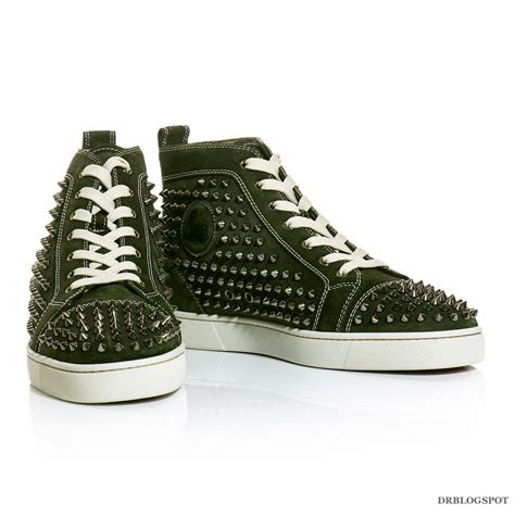christian louboutins sneakers christian louboutin green louis spikes flat