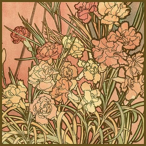 mucha alphonse les fleurs the carnation 1898 flickr