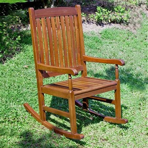 Patio Rocking Chairs Wood Shop International Caravan Acacia Wood Slat Seat Outdoor Rocking Chair At Lowes