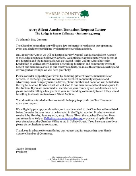 letter requesting donations silent auction templates