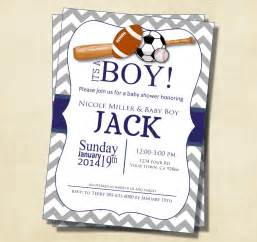 gray and blue chevron sports theme baby shower invitation