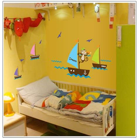 home decor for kids colorful cartoon airplane cloud sky cute monky sea dream