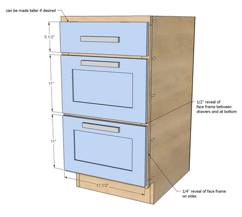 kitchen cabinet drawer dimensions standard