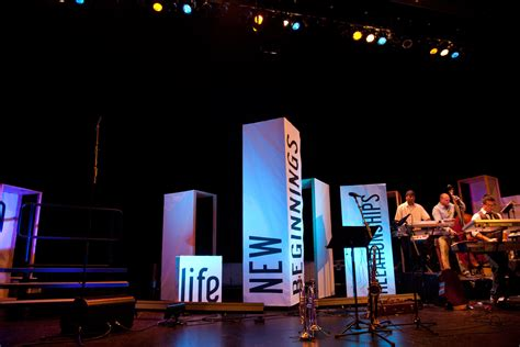 new year stage built boxes church stage design ideas