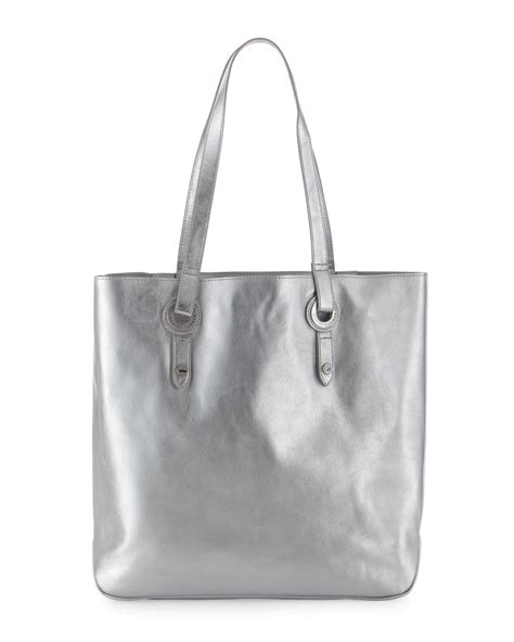 Loyd Maish Metallic Tote 2 lyst elaine turner abbi metallic leather tote bag silver