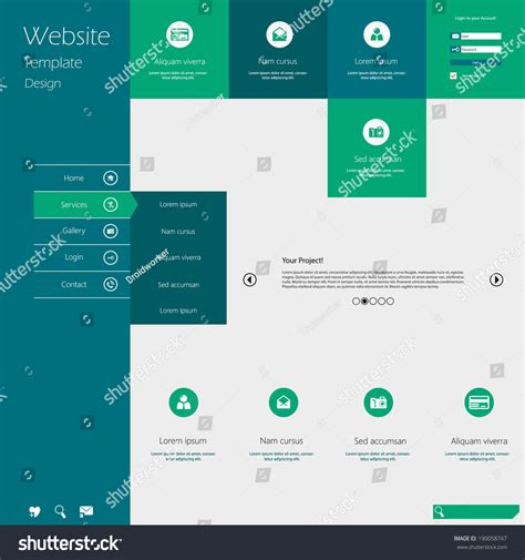 menu layout website flat design menu website creative web stock vector