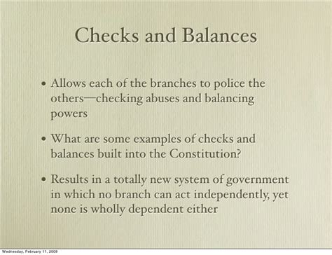 exle of checks and balances constitutional foundations instutionas and compromises 2009