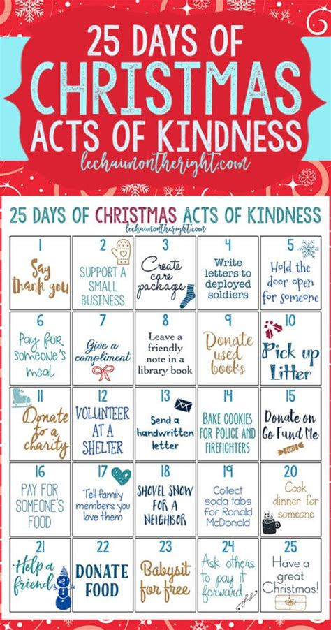 25 days of christmas office activities free 25 days of acts of kindness printable free homeschool deals