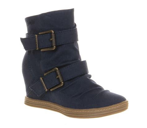 Sporty Wedges Wedges 7cm blowfish tugo wedge sneaker navy canvas ankle boots