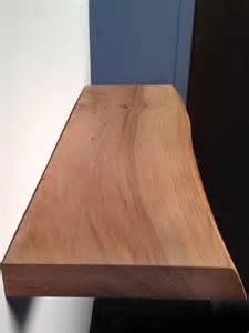 wood edge floating shelf with mounting hardware